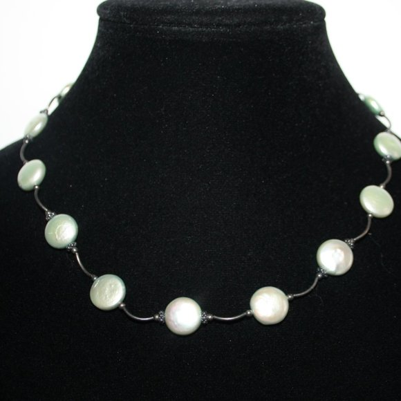 """Beautiful silver and natural pearl necklace 18"""""""